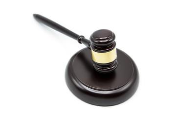 Dark wooden justice gavel on white background
