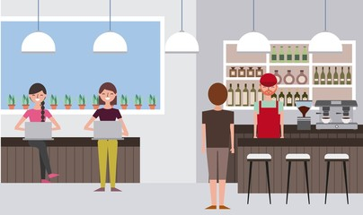 coffee bar barista man standing view back and women sitting working in their laptops vector illustration