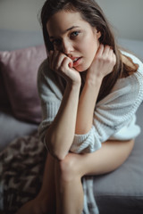 Portrait of a sexy girl with bare legs