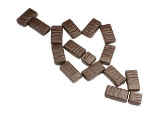 chocolate heart with arrow perfoliate