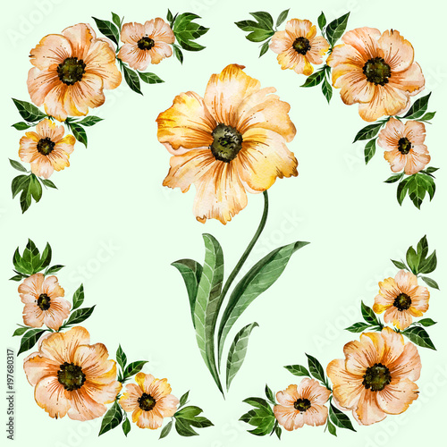 Floral illustration beautiful yellow flowers with green leaves beautiful yellow flowers with green leaves round pattern on light green background mightylinksfo