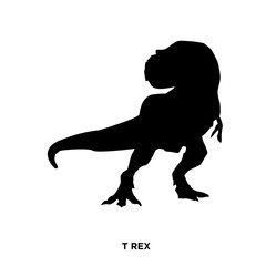 t rex silhouette on white background,looking back