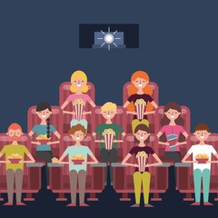 people group sit watching movie in cinema with popcorn soda nachos vector illustration