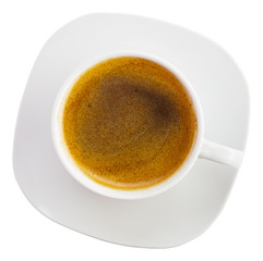 Black coffee cup top view, isolated on white background