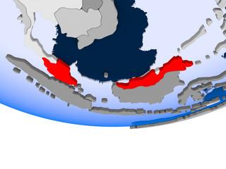 Malaysia on globe