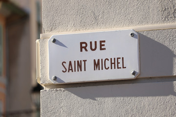 Street Plate of Rue Saint Michel in France