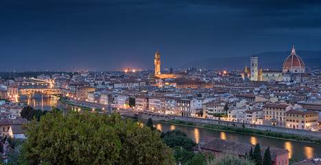 Scenic view on Florence, Tuscany in dusk