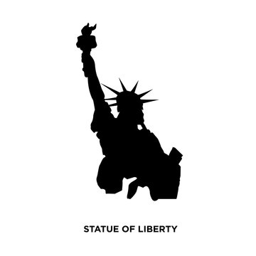 statue of liberty silhouette on white background, in black