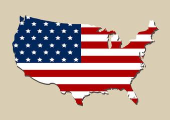 Kartenausschnitt von der USA mit amerikanischer Flagge. Eps 10 Vector Datei