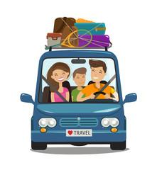 Travel, journey concept. Happy family rides in minivan. Cartoon vector illustration