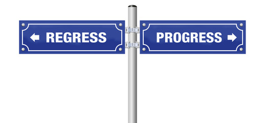 PROGRESS and REGRESS, written on two signposts. Isolated vector illustration on white background.