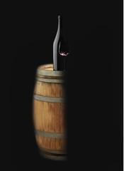 Wine bottle and wine glass on oak barrel