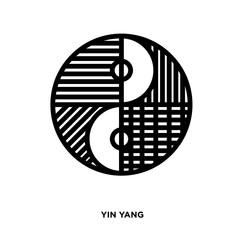 yin yang silhouette on white background, in black and white lines