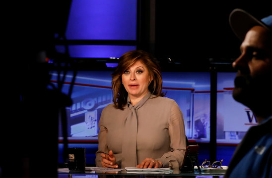 Host Maria Bartiromo prepares for a taping of her show 'Wall Street Week' on Fox Business Network in New York