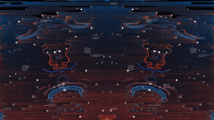 Glitched Big Data Backdrop. Error program abstract pixel noise. Damage program code. Preinted circuit board symmetry Neon. Micro chip Technology Terminal Background. Blue and Orange.
