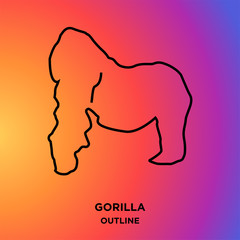 gorilla outline on purple background