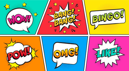 1b3536ec0c Retro comic speech bubbles set on colorful background. Expression text  OUCH