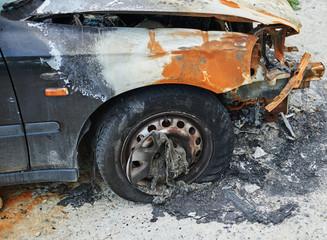 Burned car parked