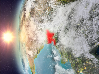 Bangladesh during sunset from space