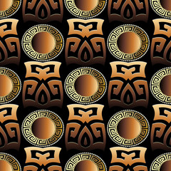 Greek key 3d seamless pattern. Geometric vector background. Abstract ancient ornament. Gold meander, circles, mandalas, shapes, figures. Surface texture. Modern design for wallpapers, fabric, textile