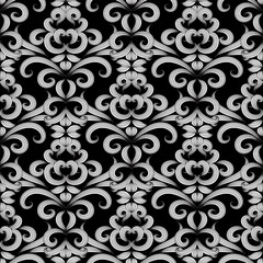 Floral vintage black and white seamless pattern. Vector damask background with doodle striped hand drawn flowers, swirl curve laves, line art tracery ornaments. Isolated texture. For fabric, wallpaper