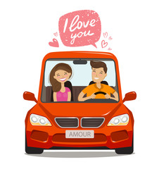 Loving couple riding on car. Love concept. Cartoon vector illustration