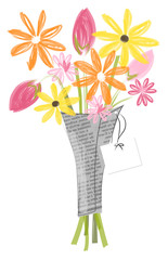 Flower bouquet vector illustration isolated on white. Happy flowers in newsprint wrapping for cards, greetings, Mother's Day, birthday, get well soon, thinking of you and well wishes.