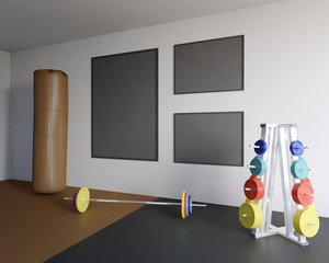 Mock up scene, 3d illustration , sport, gym, fitness rod,  room,  round,  scene,  sport,  stock,  template,  tile,  trainer