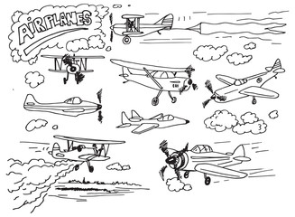 Set of hand drawn airplanes