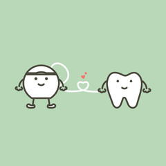 healthy tooth and floss with heart preparing for cleaning teeth