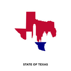 state of Texas icon on shite background, in colors of texas flag, vector icon illusration