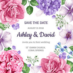 Wedding Invitation Card With Flowers In Watercolor Style On White Background Template For Greeting