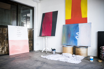 Artwork and Paintings in an art studio