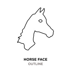 horse face outline on white background