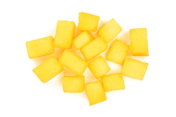 cube of Mango fruit isolated on white background close-up. Top view. Flat lay