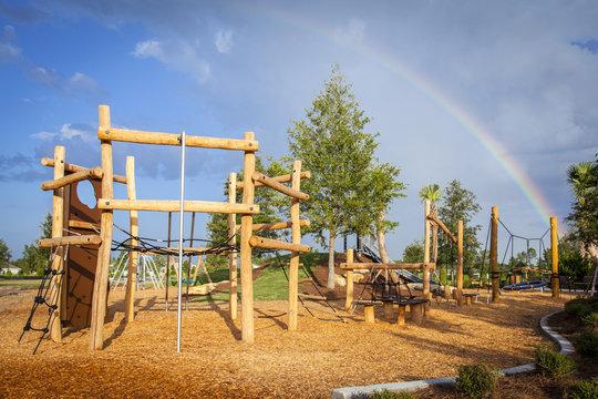 Playground with rainbow