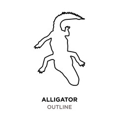 alligator outline on white background