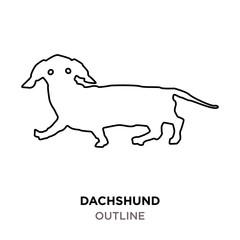 dachshund outline on white background