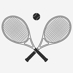 Tennis racket and ball, vector