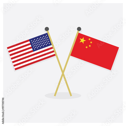 Crossed United States of America flag and Republic of China