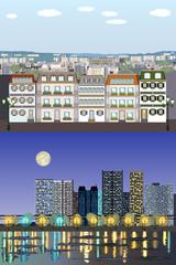 Parisian Style European Generic Buildings - Day to Night Vector Kit