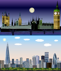 London, United Kingdom, Europe - Day to Night Vector Kit
