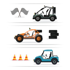 Off road buggy car set isolated on white background vector illustration. Terrain vehicle, motorbike, dune buggy, golf car element. Outdoor car racing, extreme buggy sport, off road trophy competition