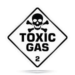 International Toxic Gas Class 2 Symbol,White Warning Dangerous icon on white background, Attracting attention Security First sign, Idea for,graphic,web design,Vector and illustration, EPS10.