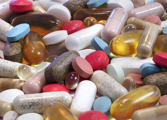 Closeup Focus Stacked Image of a Variety of Pills, Capsules, and Tablets