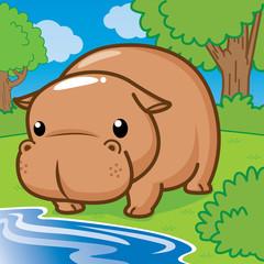 Hippopotamus, Cute vector, cute cartoon