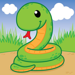 Snakes are curled in the garden, Cute vector, Cute Cartoon