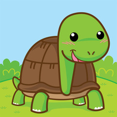 Cute turtle in the garden, Cute vector