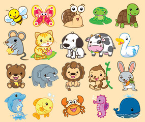 20 Animals, cute vector