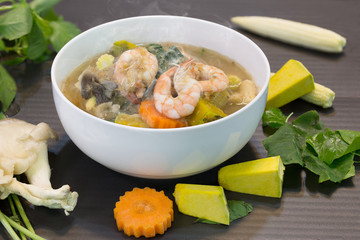 Thai spicy mixed vegetable soup with prawns (Kaeng Liang Goong sod) Thai food